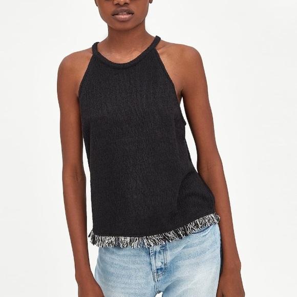 6babd44d9a Zara Tops | Tweed Halter Top With Fringed Hem | Poshmark